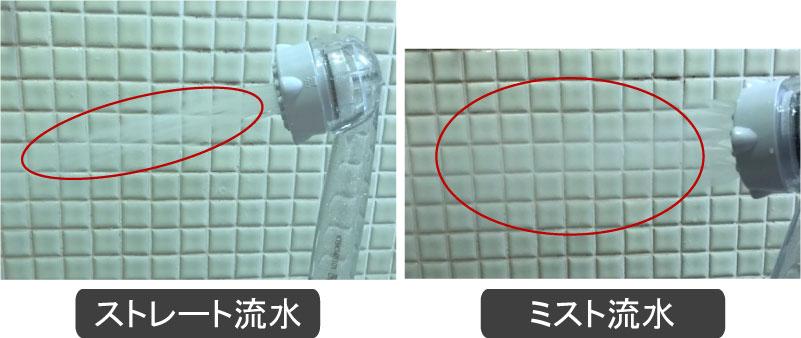 ミラブルのシャワー水流モード
